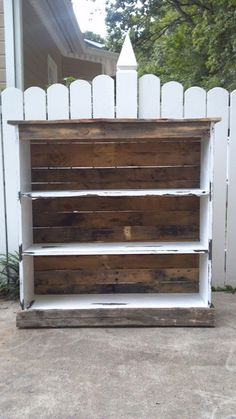 Redo the white bookshelf with a pallet backing and sand down the shelf
