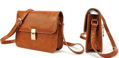 Hasp Design Brown PU Shoulder Bag