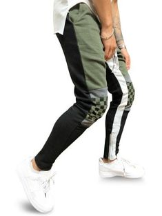 Colorblock Checked Print Track Pants - In Fashion Hub Mens Fashion Wear, Latest Mens Fashion, Fashion Pants, Fashion Hub, Camo Jogger Pants, Sport Pants, Fleece Pants, Drawstring Pants, Color Combinations For Clothes