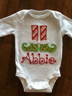 Personalized Elf Feet TShirt or Onesie by tresbienboutique on Etsy, $20.00