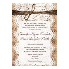Design Your Own Rustic Country Wedding Invitations.  Choose from rounded or square corners.  Choose from basic smooth cardstock paper or premium textured paper.  40% OFF discount when you order 100+ invites.  #burlap #wedding #rustic #country
