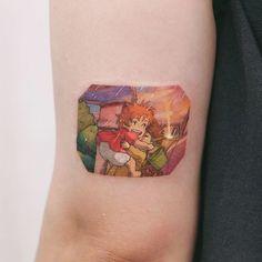 Ponyo On The Cliff 💧Studiobysol _ Mini Tattoos, Up Tattoos, Body Art Tattoos, Small Tattoos, Dragon Tattoos, Tatoos, Pretty Tattoos, Beautiful Tattoos, Piercing Tattoo