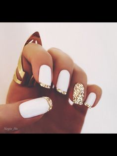 White matte polish & gold glitter french tips nail design. unghie gel The post Super stylish nail art! White matte polish & gold glitter french tips nail desig… appeared first on Nails . Gorgeous Nails, Pretty Nails, Perfect Nails, Amazing Nails, Fabulous Nails, Hair And Nails, My Nails, Polish Nails, Glitter French Tips