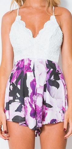 White Purple Black Lace Floral Sleeveless V Neck Backless Short Romper