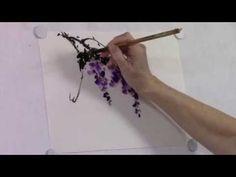 Wisteria Chinese brush painting - YouTube