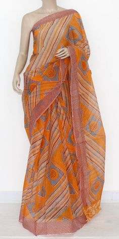 Orange JP Kota Doria Printed Cotton Saree (without Blouse) 15310