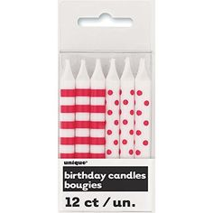 Polka Dot  Striped Birthday Candles Red 12 Count * Check out the image by visiting the link.  This link participates in Amazon Service LLC Associates Program, a program designed to let participant earn advertising fees by advertising and linking to Amazon.com.