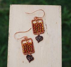 Green Red Seed Bead Heart Charm Wire Wrap Earrings Rectangle Earrings Handmade…