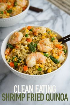 the Rice and Cook Up Clean Shrimp Fried Quinoa This fried quinoa and shrimp recipe from Eating Bird Food is perfect if you love fried rice.This fried quinoa and shrimp recipe from Eating Bird Food is perfect if you love fried rice. Clean Eating Recipes, Healthy Eating, Cooking Recipes, Healthy Recipes, Recipes With Quinoa, Clean Eating Shrimp, Seafood Recipes, Dinner Recipes, Fried Quinoa