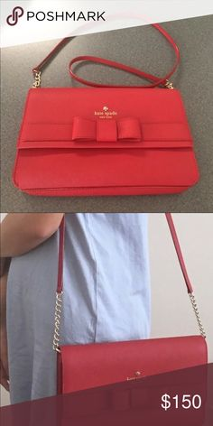 NWT Kate Spade Red Bow Zanni Crossover Purse Brand New with tags- Retail   185 beautiful saffiano leather 6.5