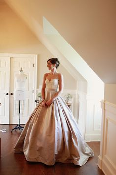 Beautiful bride wearing the dress her groom made for her, photos by Michele M Waite Photography | junebugweddings.com