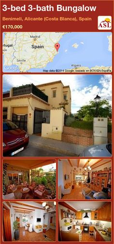 Bungalow for Sale in Benimeli, Alicante (Costa Blanca), Spain with 3 bedrooms, 3 bathrooms - A Spanish Life Bungalows For Sale, Alicante Spain, Corner House, Roller Blinds, Seville, Malaga, Cabin, Bath, Mansions
