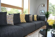 Grey and Yellow living room. Couldn't get any closer to my style!! LOVE this!!
