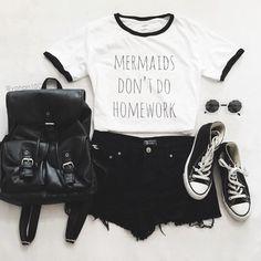 "Mermaids Don""t Do Homework Ringer Tee | Kiss Me Bang Bang | Tumblr Graphic Tee #grunge # tumblr quote KISSMEBANGBANG.COM"