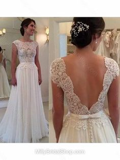 A-line Scoop Neck Chiffon Floor-length Bow Prom Dresses