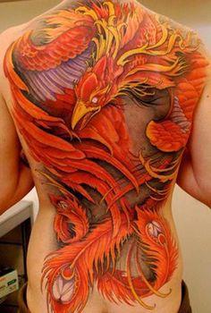 red phoenix watercolor tattoo on full back - bird, feather - Fancy Tattoo Ideas