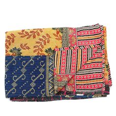 Clever Carriage Home Hand-Stitched Kantha 100% Cotton Throw