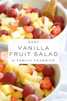 Simple Secret Ingredient Vanilla Fruit Salad Recipe - Recipes To Try . - Simple Secret Ingredient Vanilla Fruit Salad Recipe – Recipes To Try recip - Creamy Fruit Salads, Healthy Fruit Desserts, Summer Salads With Fruit, Fruit Smoothie Recipes, Healthy Fruits, Fruit Salad Ideas Parties, Best Fruits To Eat, Fruit Salad Ingredients, Fruit Appetizers
