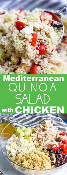 This Mediterranean Quinoa Salad with Chicken makes such a great meal prep lunch! This Mediterranean Quinoa Salad with Chicken makes such a great meal prep lunch! Clean Dinner Recipes, Clean Eating Dinner, Slow Cooker Balsamic Chicken, Mediterranean Quinoa Salad, Mediterranean Meals, Prepped Lunches, Lunch Meal Prep, Best Chicken Recipes, Easy Healthy Recipes