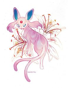 Espeon with brushstroke lilies (Pokémon):