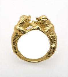 Fighting Bear Ring - vermeil
