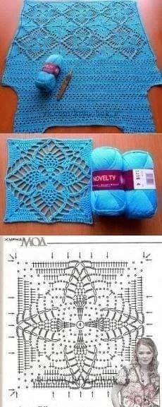Gilet Crochet, Crochet Motifs, Crochet Square Patterns, Crochet Squares, Granny Squares, Black Crochet Dress, Crochet Shoes, Crochet Clothes, Crochet Lace