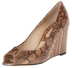 Michael Kors Valari Snake Skin Peep Toe Wedge Shoes US 85 *** Click on the image for additional details.