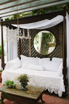 Try these DIY outdoor cabana projects and create paradise in your own backyard! Outdoor daybeds, loungers with canopies and more! Outdoor Cabana, Outdoor Daybed, Outdoor Rooms, Outdoor Living, Outdoor Decor, Outdoor Mirror, Outdoor Retreat, Outdoor Lounge, Backyard Cabana