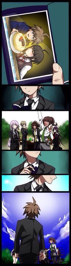 Okay, this really strikes me in the heart. Like, as they group gather to celebrate (what I assume) is Naegi's birthday and he looks at a photograph of him and his sister during the time he assumed that died because of the first motive, and he realized that he needed to keep going for everyone that died. Okay, I've got to say I freaking love both Komaru and Makoto's character and their relationship.