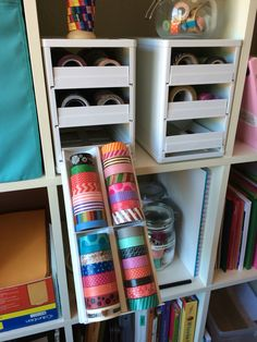 Excited by this new find -- spice racks transformed into a washi tape holders. Mini Stack from YouCopia Products. They come in larger sizes but these two fit perfectly in my IKEA unit.