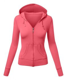 Women's Basic Long Sleeve Zipper Slim Fit Hoodied Jacket - 101-bright Coral - CC186Y676TZ,Women's Clothing, Active, Active Hoodies #Active #sports #outdoor Dark Rose, Jackets For Women, Clothes For Women, Bright, Basic Outfits, Running Shirts, Running Women, Slim Fit, Fit Women