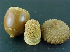 Vegetable Ivory Acorn Thimble Holder & Ornate Vegetable Ivory Thimble. (Vegetable Ivory is a carved Tagua Nut - ivory colored and very hard)