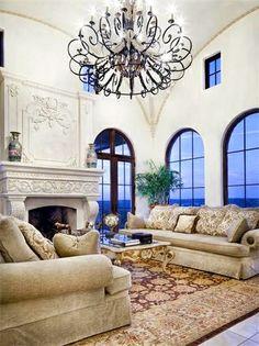 Villa Ascosa - mediterranean - Living Room - Austin - My Villa Austin Beautiful Living Rooms, Beautiful Interiors, Beautiful Homes, Home Living Room, Living Spaces, Living Area, Porches, My Dream Home, Dream Homes