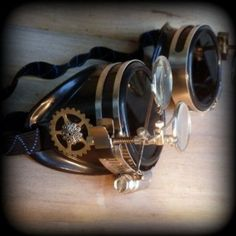 Steampunk Anthropologist Goggles with Magnifying Eye Loupe and Adjustable Strap