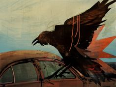crow/raven - beautiful layering and texture