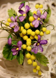 """Купить """"ETERNAL SPRING"""" - мимоза, фиалки, желтый, фиолетовый, лиловый, фиолетовый цветок, сиреневые цветы"""