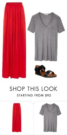 """red skirt outfit 2"" by jessica-rose-lentz on Polyvore featuring Needle & Thread, T By Alexander Wang and Miz Mooz"