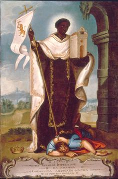 Anonymous Portuguese Artist Saint Elesbaan Having Slaughtered Evil Portugal (18th Century) Oil on Canvas, 110 x 75 cm. Arouca, Museu de Arte Sacra.