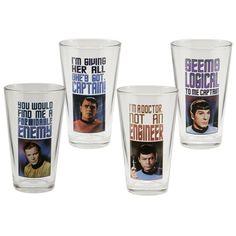 Not Just Toyz - Star Trek Original Series 16-Ounce Glasses 4-Pack, $23.99 (http://www.notjusttoyz.com/star-trek-original-series-16-ounce-glasses-4-pack/)