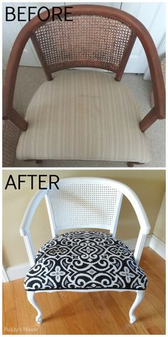 Taking 2 thrift shop chairs from ugly to pretty with paint and pretty fabric
