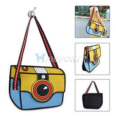3D Jump Style 2D Drawing Handbag from Cartoon Paper Bag Messenger Shoulder Bag | eBay