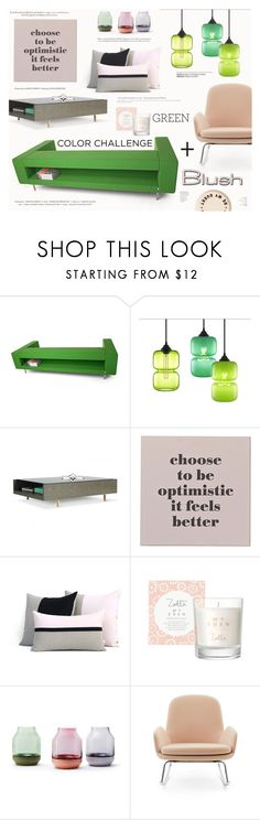 """Color Challenge: Green and Blush"" by katarina-blagojevic ❤ liked on Polyvore featuring interior, interiors, interior design, home, home decor, interior decorating, Moooi, Blu Dot, Bloomingville and Muuto"