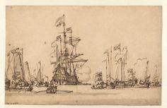 De Gouden Leeuw Coming to Anchor in the IJ, Willem van de Velde II, c. 1673 John and Marine van Vlissingen Art Foundation