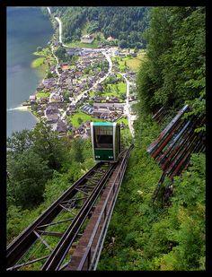 Hallstatt funicular to the world's oldest salt mine, Austria. 2013