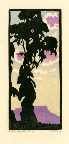 William Seltzer Rice (1973-1963) - Eucalyptus-Northbrae (California). Woodblock Print. Circa 1920.