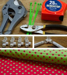Materials needed to create a PVC frame diy lighted gift box.