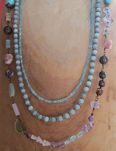 """34"""" Multi-Strand Bohemian Gemstone Necklace - Handmade Jewelry by SolsticeDesigns1 on Etsy"""