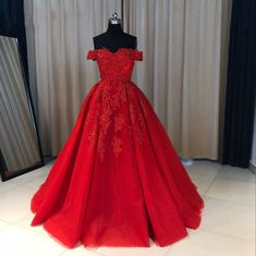 Fashion Ball Gown Off-The-Shoulder Red Long Prom Dress With Appliques P0192 on Luulla