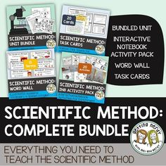 Learn all about the Scientific Method, lab equipment and best practices, and inquiry with our bundle complete with PowerPoint, handouts, task cards, word wall, and science interactive notebook.