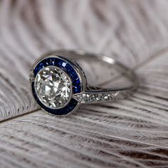 WOW! A stunning diamond and sapphire engagement ring.